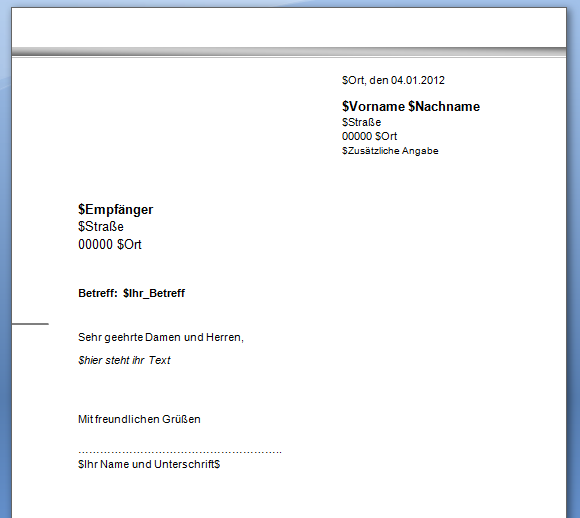 Briefvorlagen Für Word Openoffice Etc Dasinternetnet