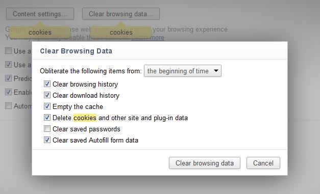 Google Chrome Cookies löschen