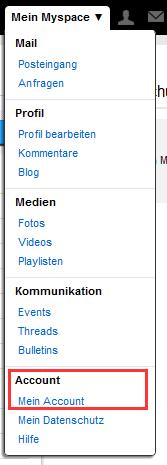 MySpace Account löschen